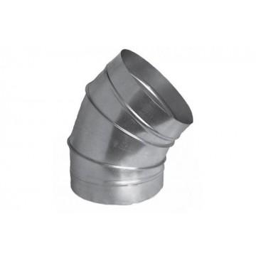 Отвод 45 градусов круглый из оцинкованной стали